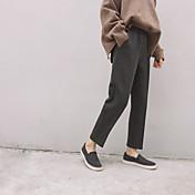 2016 nuevo invierno buenos pantalones de pierna recta cintura elástica se dividió urdimbre nueve pantalones sueltos traje de color 2