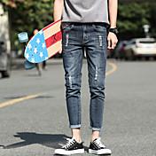 2017 verano nuevo pantalones vaqueros del estiramiento estudiante coreano masculino cultivando pies salvajes pantalones pantyhose marea