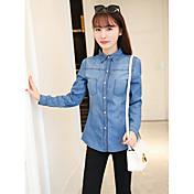 韓国のスリムデニムシャツ女性の長袖の綿のデニムシャツ薄いコートに署名