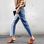 女性ストレートエッジがレトロカラーステッチを打つ新しいジーンズのウエストの韓国語バージョンは、薄い野生のワイドレッグパンツの潮でした