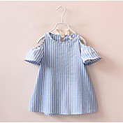 女の子の ゼブラプリント ストライプ コットン ドレス 夏 半袖