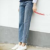 firmar la línea punteada 2017 nuevos bordado coreano pantalones vaqueros flojos rectos cintura femenina dividida