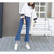 2017 primavera nueva señal irregular del dobladillo los pantalones vaqueros mujer era delgada pantimedias marea pantalones micro altavoces