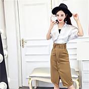 近くの春と夏の韓国のファッション緩い大きな襟白いシャツ+スカートの分割パッケージヒップスリム