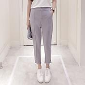 Mujer Estilo de Oficina Tiro Medio Inelástica Ajustado Pantalones,Lápices Color sólido Color puro