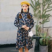 春2017人の女性'韓国の女性長袖の花柄のドレスの腰長いセクションのsの新しい波はスカートをフラウンス付き