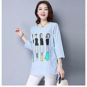 2017春新しい女性に署名' sの綿のストライプのTシャツの印刷サイズが大きい演劇袖シャツ