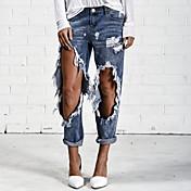 レディース ストリートファッション ミッドライズ ストレート マイクロ弾性 ジーンズ パンツ ゼブラプリント