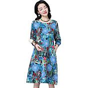 2017新しい大きいサイズの女性に署名' sの国民の風の綿ラウンドネック長袖のドレス