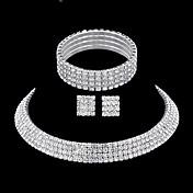 Sady šperků Obojkové náhrdelníky Náušnice Náhrdelník imitace drahokamu Módní luxusní šperky Elegantní Pro nevěstu Vícevrstvé ŠtrasSquare