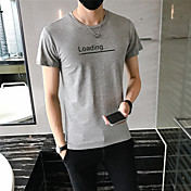 メンズ お出かけ カジュアル/普段着 ホリデー オールシーズン Tシャツ,シンプル ストリートファッション 活発的 ラウンドネック レタード コットン 半袖 ミディアム