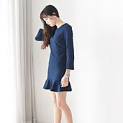 primavera signo coreano sección de largo vestido de rayas verticales delgada era la falda de cola de pescado delgada volantes de tocar