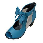 Mujer Sandalias Confort PU Primavera Verano Casual Confort Pajarita Tacón Robusto Talón de bloque Negro Azul 7'5 - 9'5 cms