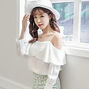 Signo mancha 17 primavera y verano la versión coreana de la pequeña palabra fresca hombro flounced camisa de gasa primavera femenina de 17