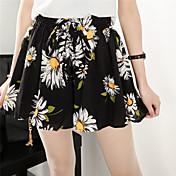 firmar las mujeres XL 200 libras de grasa mm de primavera y verano que basan los pantalones cortos de la falda de la cintura elástica gasa