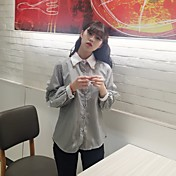 署名春と夏新しい韓国の縦縞ビーズ飛行長袖シャツのシャツ女性の学生