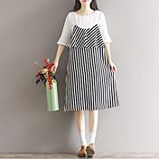 Signo 2017 primavera nueva mujer vestido a rayas coreano temperamento mujer suelta
