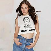 新しい韓国の通りカジュアルなヨーロッパとアメリカのファッションの写真の印刷手紙短い段落のベストセクシーなノースリーブTシャツ