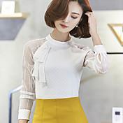 2017 primavera nueva mujer sexy perspectiva camisa de gasa de cuello camisa de manga larga camisa blanca