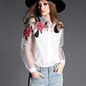 女性 カジュアル/普段着 春 シャツ,シンプル シャツカラー フラワー ホワイト / ブラック ポリエステル 長袖 シースルー