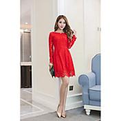 Signo de la moda de moda de encaje rojo de manga larga de encaje a-line vestido tutú falda de fondo