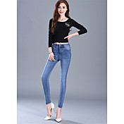 Signo 2017 primavera modelos cintura pantalones vaqueros femeninos pies lápiz pantalones delgado era fino estiramiento pantalones marea