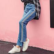 Signo 2017 irregulares rasgados puños cintura vaqueros hembra salvaje era pantalones rectos pantalones rectos