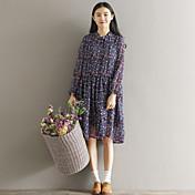 サイン2017春小さな新鮮なセンの女性大きなヤードルーズなシフォンの花のドレスの長いセクション