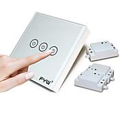 3つのギャングタッチリモコンスイッチ壁の配線をカットする必要はありません強化ガラスを採用高電圧制御から電波を使用する