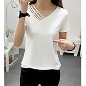 Mujer Simple Casual/Diario Camiseta,Escote en Pico Un Color Manga Corta Poliéster Fino
