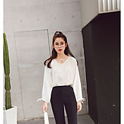 Signo original stock coreano manga suelta linterna de manga corta cuello en v camisa era delgada modelos femeninos primavera 17