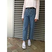 排他的な手作りの2017年ヴィンテージハイウエスト緩いズボンが広いレッグパンツステッチジーンズを洗っ署名