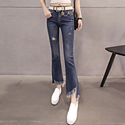 2017春韓国の青い穴のジーンズ女性の分割エッジ9点スリムストレッチ若干フレアのズボンの潮