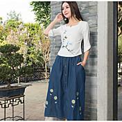 signo de la primavera y el verano 2017 nueva camisa de lino llano camisa de manga pintado a mano