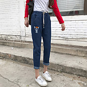 スーパーmeng子犬の刺繍野生の刺繍の弾性ウエストパンツ9ポイントのジーンズを署名