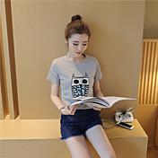 Párrafo corto de verano nuevo coreano búho sección de estudiantes de impresión fue fina mujeres de moda salvaje&Marea de camiseta