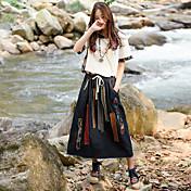 signo temperamento retro traje de vaquero + ventilador costura camisa de impresión trapos arte de vestimenta casual de dos piezas
