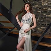 20107 Versión coreana del nuevo vestido del temperamento delgado sin mangas largo vestido sin mangas de encaje de flores