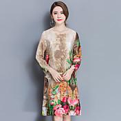 2017春の新しい女性の通勤者の緩い長袖のシルクのドレスファッションプリントスカートボトミング