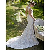 Mořská panna / trumpet klenotnictví vlak krajka svatební šaty s aplikací tlačítko lan ting bride®