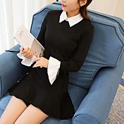 Mujer Línea A Vestido Pedida Cita Ropa de Negocios Simple,Varios Colores Sexy Cuello Camisero Sobre la Rodilla, Mini Manga Larga N/A