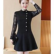 realmente haciendo 2017 nuevas mujeres de la falda del vestido del cordón delgado de Corea del temperamento que basa la sección de largo