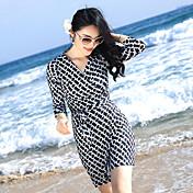 la playa del vestido largo 2017 nuevo vestido de abrigo impresa v-cuello de la falda delgada balneario