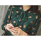アニマルプリントのシャツ底シャツをリードする新しい韓国OLファッション蝶ネクタイ