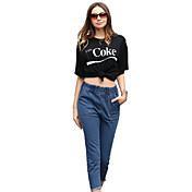 Los pantalones vaqueros femeninos del tiro verdadero aliexpress los pantalones vaqueros rectos elásticos de la cintura de la borla ebay