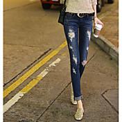 韓国の爆発モデル春と夏のセクシーな新しいカウボーイの足のズボン女性の穴ダイヤモンド本物のショット