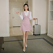 firmar vestido de la correa 2017 nueva primavera coreano marea pieza con cuello en v traje de falda de una palabra fina de algodón a rayas