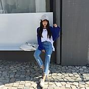 Signo coreano alto pantalones vaqueros rectos de cintura sueltos sueltos irregulares muescas pantyhose fino jeans estudiante