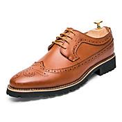 Hombre Zapatos Cuero Primavera Otoño Confort Gladiador zapatos Bullock Zapatos formales Oxfords Encaje Cosido Con Cordón Para Boda Fiesta