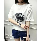Mujer Simple Uso Diario Diario Vacaciones Verano Camiseta,Escote Redondo Estampado Manga Corta N/A Medio